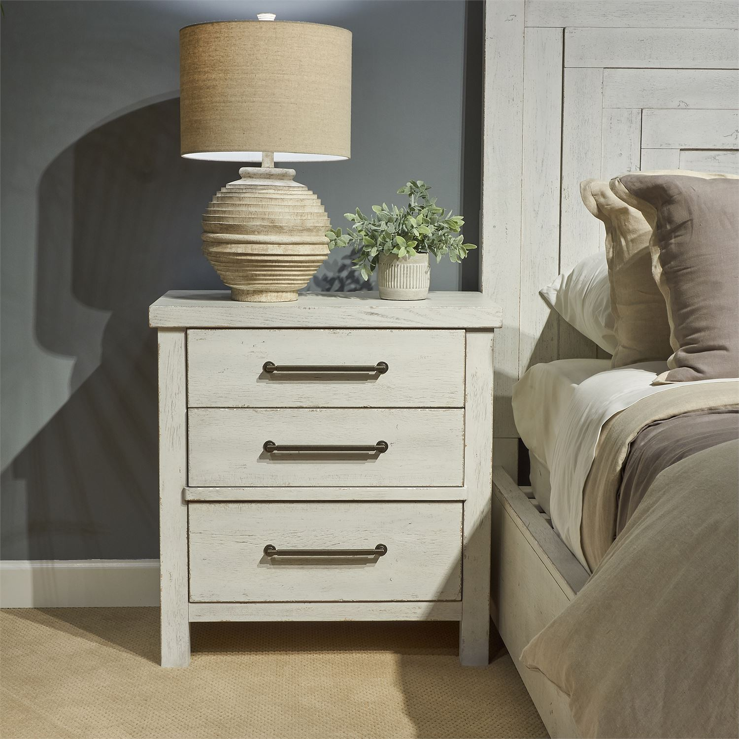 Buy Liberty Furniture Modern Farmhouse 3 Drawer Night Stand In Flea Market White 406w Br61